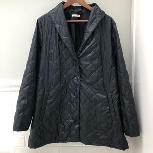 Eileen Fisher Black Diamond Quilted Coat